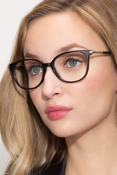 Jasmine Black Acetate Eyeglass Frames for Women from EyeBuyDirect