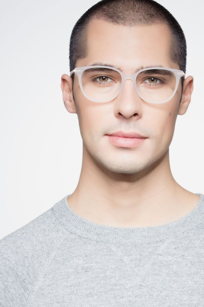 Jasmine White Acetate Eyeglass Frames for Men from EyeBuyDirect, Front View