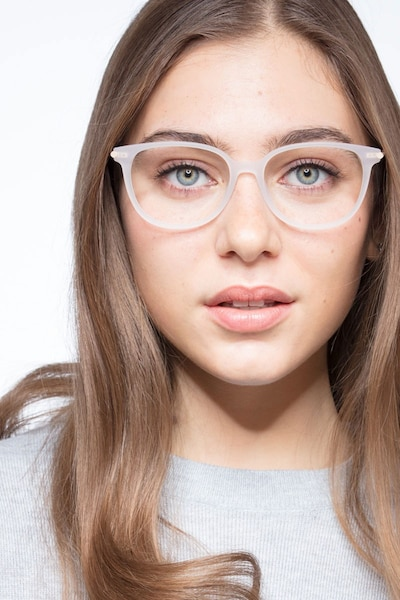 Jasmine White Acetate Eyeglass Frames for Women from EyeBuyDirect