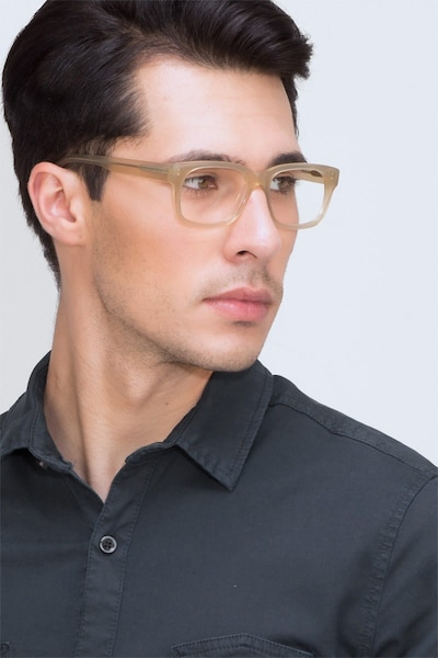 Lynch Light Beige Acetate Eyeglass Frames for Men from EyeBuyDirect, Front View