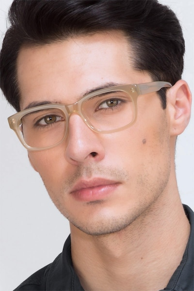 Lynch Light Beige Acetate Eyeglass Frames for Men from EyeBuyDirect