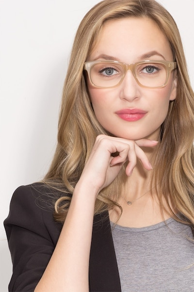 Lynch Light Beige Acetate Eyeglass Frames for Women from EyeBuyDirect, Front View