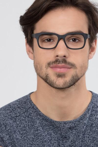 Lynch Matte Black Acetate Eyeglass Frames for Men from EyeBuyDirect, Front View