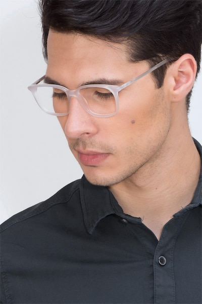 The Bay Clear White Acetate Eyeglass Frames for Men from EyeBuyDirect, Front View