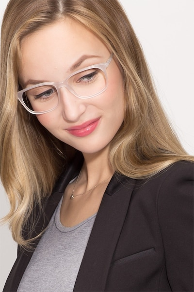 The Bay Clear White Acetate Eyeglass Frames for Women from EyeBuyDirect, Front View