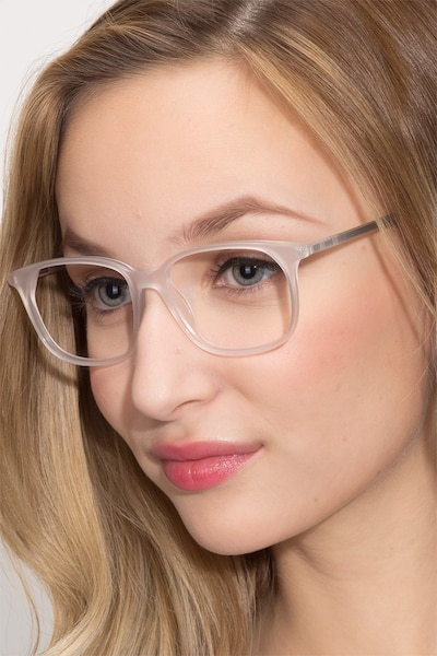 The Bay Clear White Acetate Eyeglass Frames for Women from EyeBuyDirect