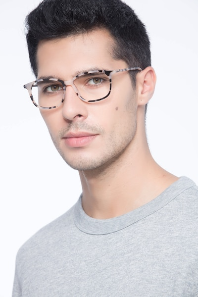 The Bay Tortoise Acetate Eyeglass Frames for Men from EyeBuyDirect, Front View