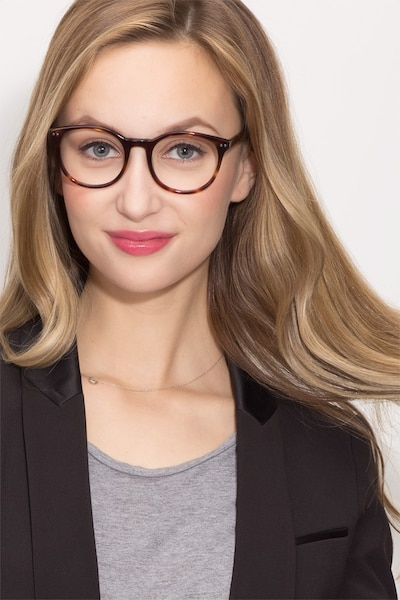 Primrose Tortoise Acetate Eyeglass Frames for Women from EyeBuyDirect, Front View