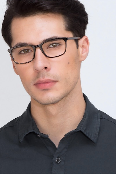 Wildfire Tortoise Acetate Eyeglass Frames for Men from EyeBuyDirect, Front View