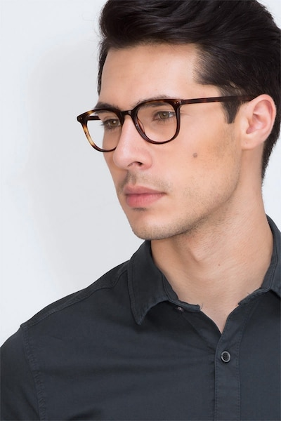 Demain Dark Tortoise Acetate Eyeglass Frames for Men from EyeBuyDirect, Front View
