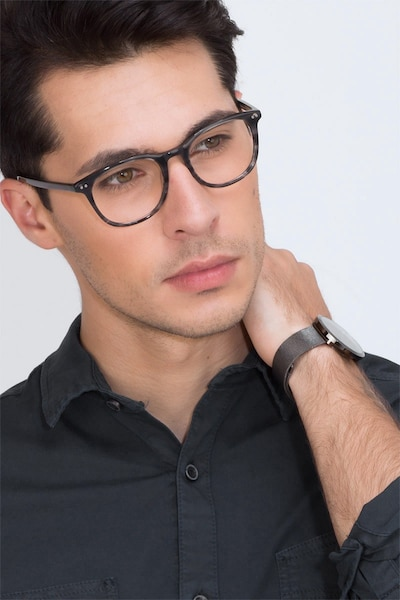 Demain  Gray Striped  Acetate Eyeglass Frames for Men from EyeBuyDirect, Front View