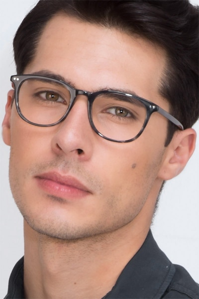 Demain  Gray Striped  Acetate Eyeglass Frames for Men from EyeBuyDirect