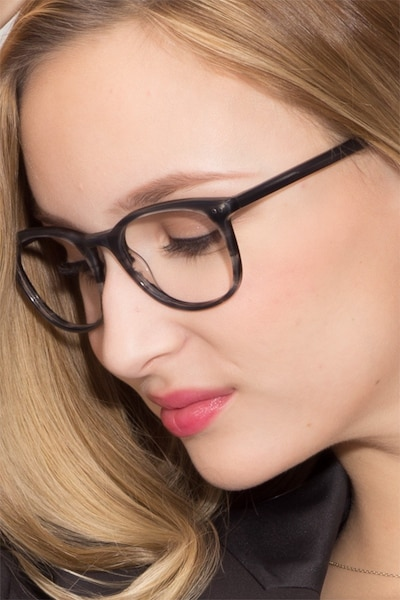 Demain  Gray Striped  Acetate Eyeglass Frames for Women from EyeBuyDirect