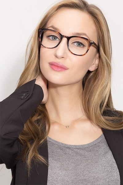Demain  Blue Floral  Acetate Eyeglass Frames for Women from EyeBuyDirect, Front View