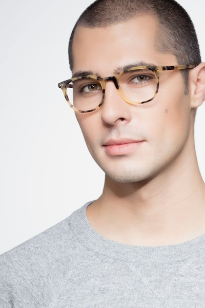 Demain Tortoise  Acetate Eyeglass Frames for Men from EyeBuyDirect, Front View