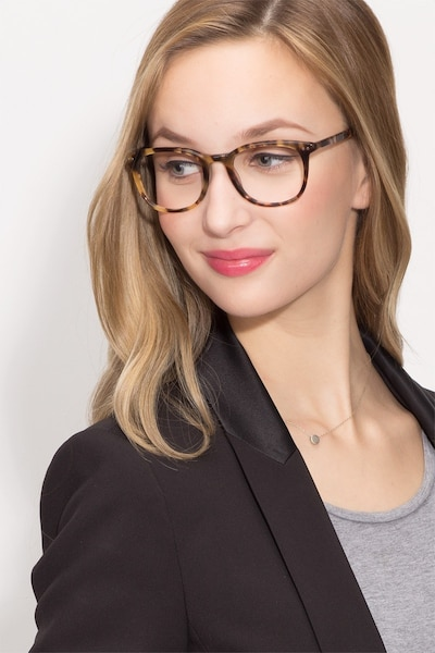 Demain Tortoise  Acetate Eyeglass Frames for Women from EyeBuyDirect, Front View