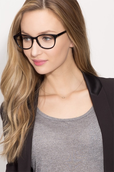 Mars Black Acetate Eyeglass Frames for Women from EyeBuyDirect, Front View