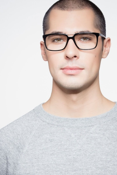 Evening Black Acetate Eyeglass Frames for Men from EyeBuyDirect, Front View