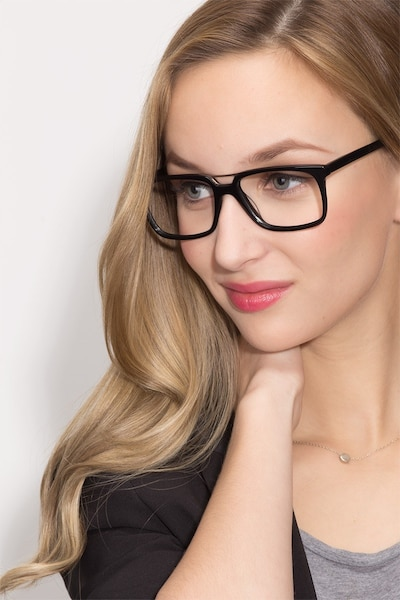 Evening Black Acetate Eyeglass Frames for Women from EyeBuyDirect, Front View