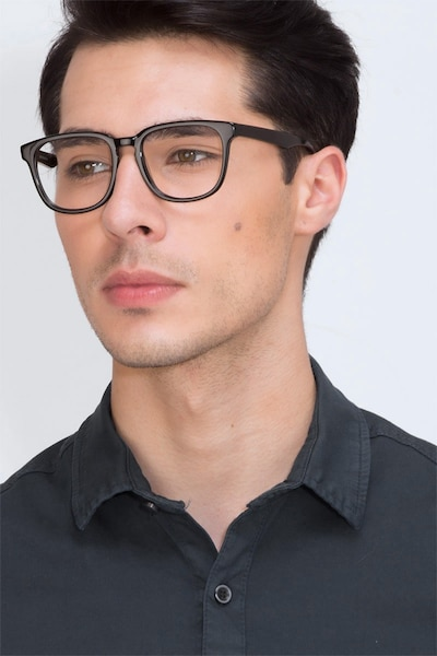 Sail Black Acetate Eyeglass Frames for Men from EyeBuyDirect, Front View