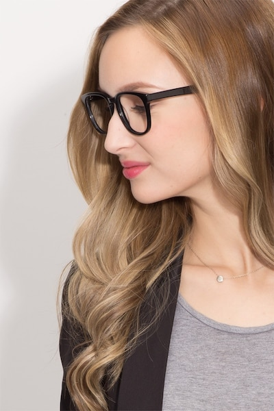 Sail Black Acetate Eyeglass Frames for Women from EyeBuyDirect, Front View