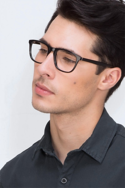 Damien Black Acetate Eyeglass Frames for Men from EyeBuyDirect, Front View