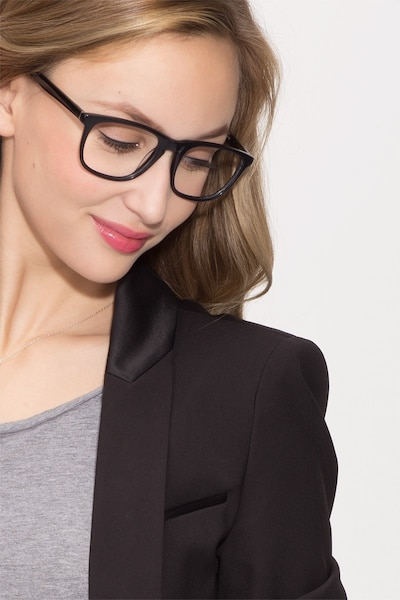 Damien Black Acetate Eyeglass Frames for Women from EyeBuyDirect, Front View