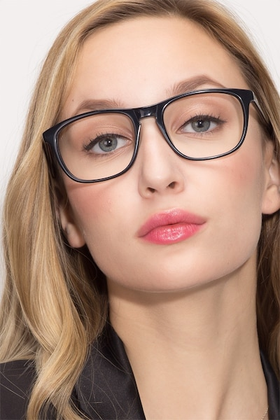 Damien Black Acetate Eyeglass Frames for Women from EyeBuyDirect