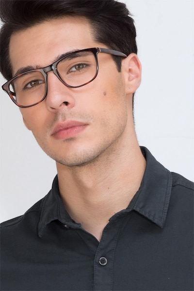Damien Tortoise Acetate Eyeglass Frames for Men from EyeBuyDirect, Front View