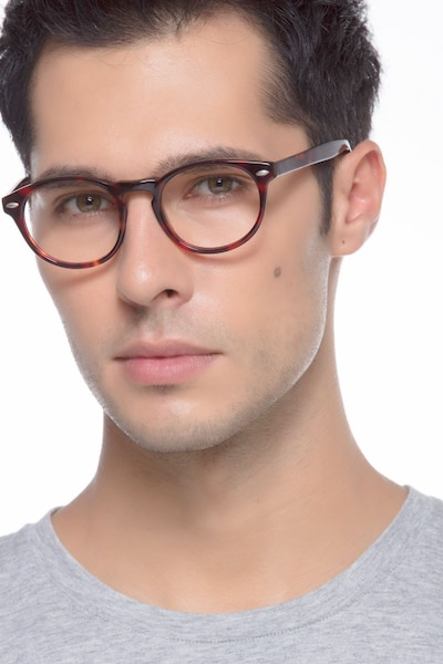 The Loop Tortoise Acetate Eyeglass Frames for Men from EyeBuyDirect, Front View