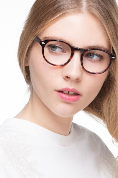 The Loop Tortoise Acetate Eyeglass Frames for Women from EyeBuyDirect, Front View