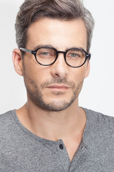 Homer Black Acetate Eyeglass Frames for Men from EyeBuyDirect, Front View
