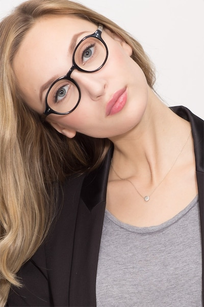 Homer Black Acetate Eyeglass Frames for Women from EyeBuyDirect, Front View