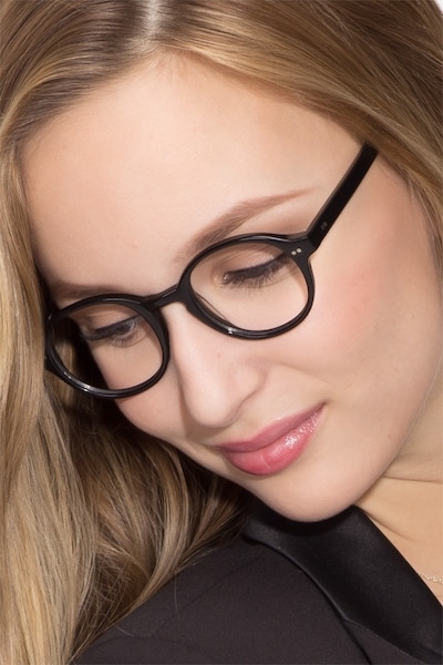 Homer Black Acetate Eyeglass Frames for Women from EyeBuyDirect