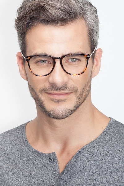 Decadence Tortoise Acetate Eyeglass Frames for Men from EyeBuyDirect, Front View