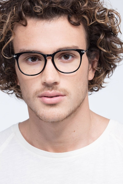 Decadence Black Acetate-metal Eyeglass Frames for Men from EyeBuyDirect, Front View