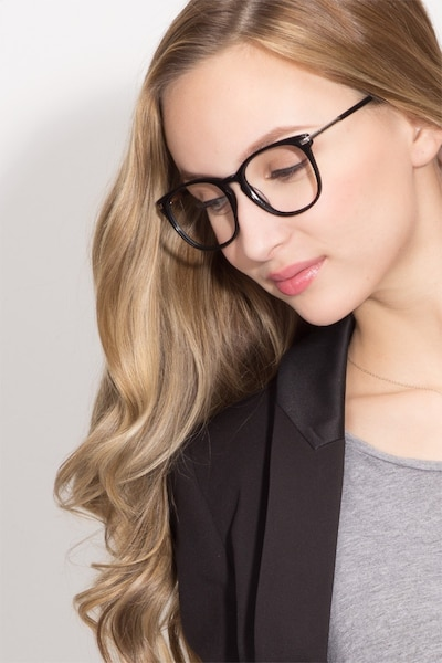 Decadence Black Acetate-metal Eyeglass Frames for Women from EyeBuyDirect, Front View