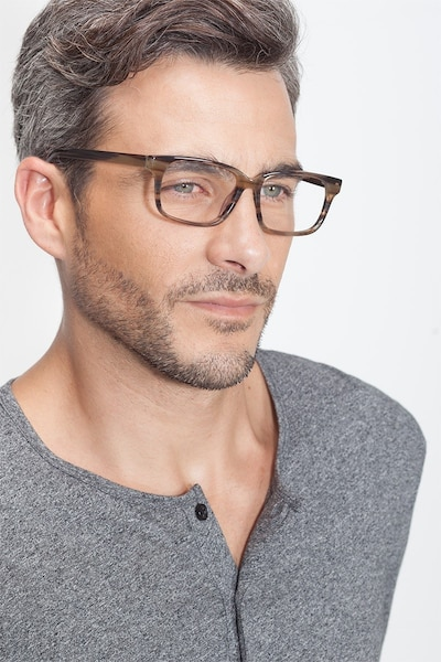 Edit Brown Striped Acetate Eyeglass Frames for Men from EyeBuyDirect, Front View