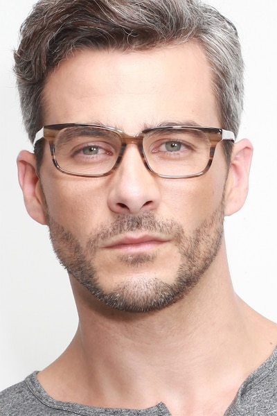 Edit Brown Striped Acetate Eyeglass Frames for Men from EyeBuyDirect