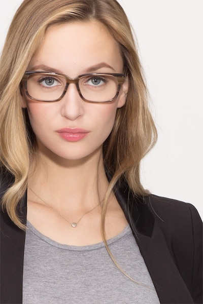 Edit Brown Striped Acetate Eyeglass Frames for Women from EyeBuyDirect, Front View