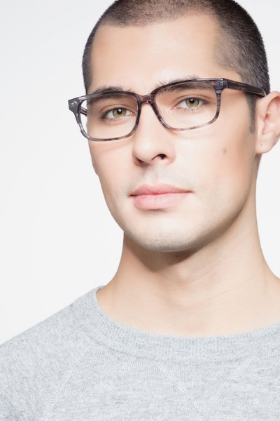 Edit Clear Gray Acetate Eyeglass Frames for Men from EyeBuyDirect, Front View
