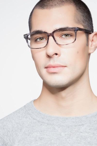 Edit Clear Gray Acétate Montures de Lunettes pour Hommes d'EyeBuyDirect, Vue de Face