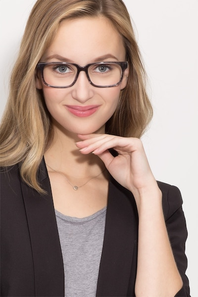 Edit Clear Gray Acetate Eyeglass Frames for Women from EyeBuyDirect, Front View