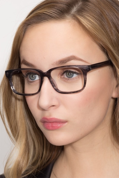 Edit Clear Gray Acetate Eyeglass Frames for Women from EyeBuyDirect