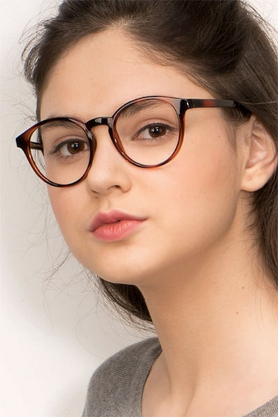 Bright Side Brown Tortoise Plastic Eyeglass Frames for Women from EyeBuyDirect, Front View
