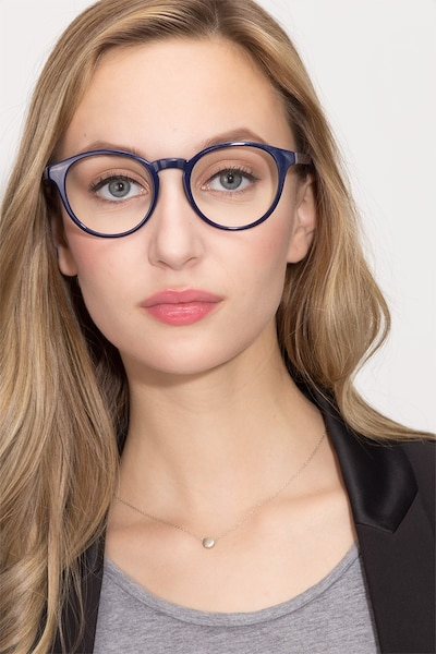 Bright Side Navy Plastic Eyeglass Frames for Women from EyeBuyDirect, Front View