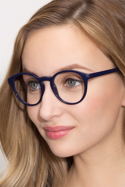 Bright Side Navy Plastic Eyeglass Frames for Women from EyeBuyDirect