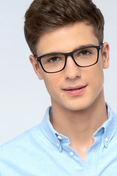 Thursday Black Plastic Eyeglass Frames for Men from EyeBuyDirect, Front View