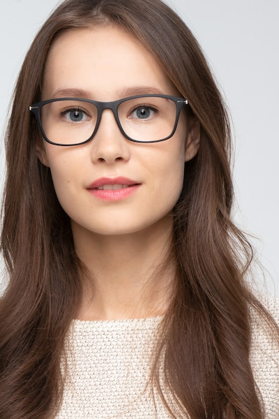 Thursday Black Plastic Eyeglass Frames for Women from EyeBuyDirect, Front View