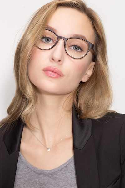 Palette Matte Leopard Plastic Eyeglass Frames for Women from EyeBuyDirect, Front View